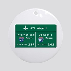 Atlanta Airport, GA Road Sign, USA Round Ornament